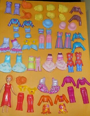 Polly Pocket Magnetic Doll Lot Clothes Wigs Dresses Shorts Pants Jackets Hangers