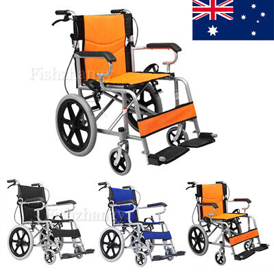 """16"""" Solid wheel Folding Wheelchair Manual Mobility Aid Brakes Light Weight AU"""