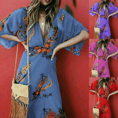 Womens V-neck Maxi Boho Floral Dress Evening Cocktail Party Sun Long Dress