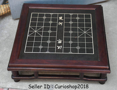 "23.2"" Old Chinese Huanghuali Wood Dynasty 楚河汉界 boundry line Chessboard Table"