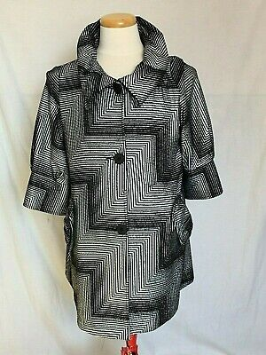 Joseph Ribkoff Womens Jacket Sz 12 Silver Black 34 Sleeve Buttoned Lined 143676