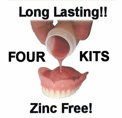 Denture Reline Reliner Soft Flexiliner Home Privacy Four Kits Tight Fit!