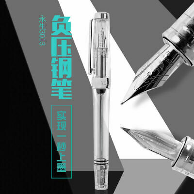 Wing Sung 3013 Vacuum Fountain Pen EF/F Nib Paili 013 Resin Transparent USA J