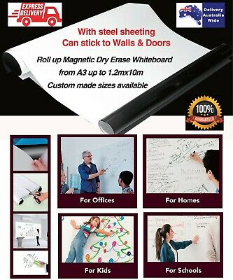 Roll up Magnetic Dry Erase Whiteboard Sheet Custom sizes * Stick to Walls/Doors