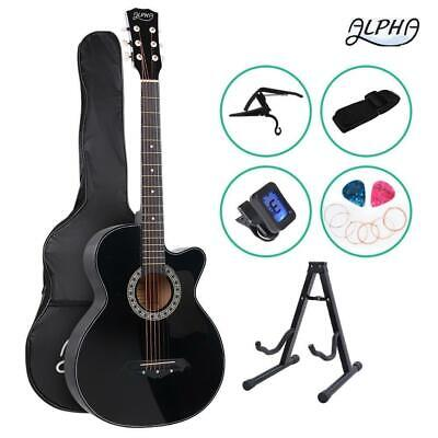 "ALPHA 38"" Inch Wooden Acoustic Guitar Classical Folk Full Size Black Capo Tune"