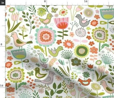 Folk Floral Birds Flowers Tulips Green Red Fabric Printed by Spoonflower BTY