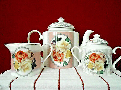 ANCHORAGIE Bone China ROSE GARDEN 5 Piece Teapot Creamer & Sugar Bowl New