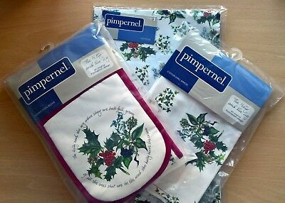 PORTMEIRION THE HOLLY AND THE IVY PIMPERNEL TEXTILE SET of 3 NEW & UNUSED