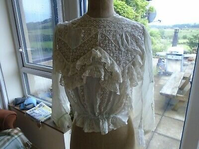 Antique Early 20Th Century Silk And  Bobbin  Net Lace Blouse