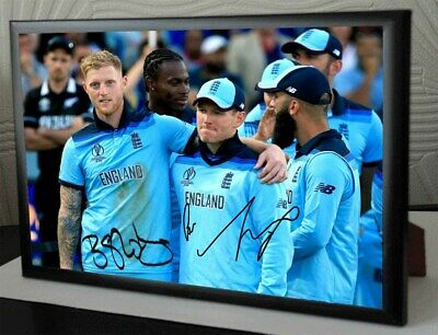 """Eoin Morgan & Ben Stokes Lords Framed Canvas Tribute Print Signed.""""Great Gift"""""""