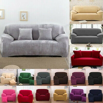 1 2 3 4 Seater Stretch Chair Sofa Cover Couch Elastic Slipcover Protector Velvet