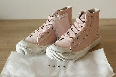 Brand New Girls Zara Pink Canvas Studded Hi-Top Trainers Shoes | Size 4.5