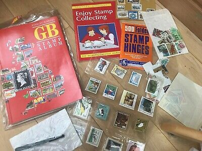 ⭐️ Vintage Stamp Collecting Album Job Lot Hinges Stamps Magnifying Book ⭐️