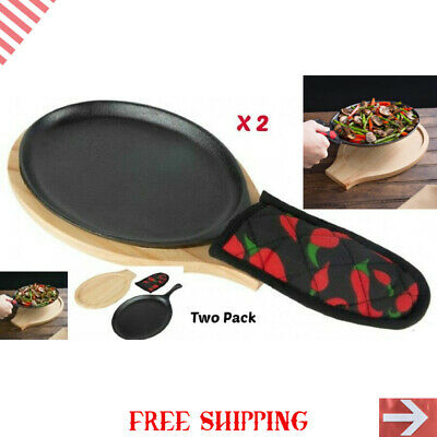 Valor 9 1 4 x 7 Oval Cast Iron Sizzler Set with Natural Wood Underliner and