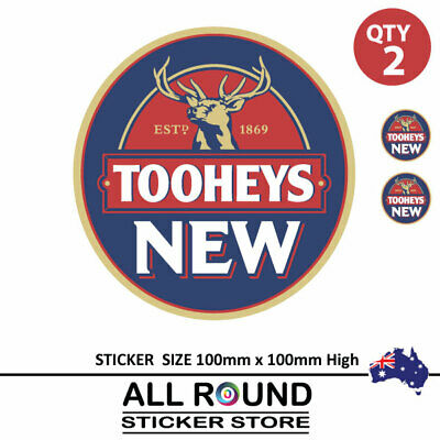 2 X Tooheys new beer Stickers  Camping Trailer Bar Fridge