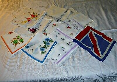 Collection Of 11 Vintage Handkerchief's Cotton Linen Crepe These Have Been Used