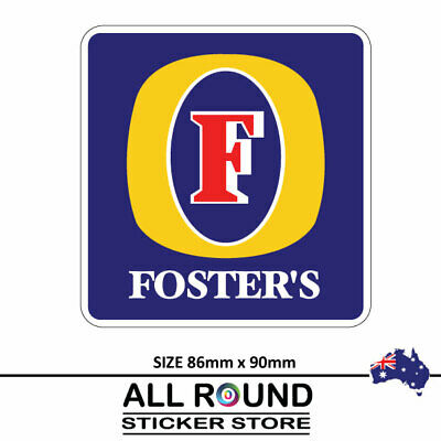 2 X Fosters beer label Stickers  Camping Trailer Bar Fridge car bumper sticker