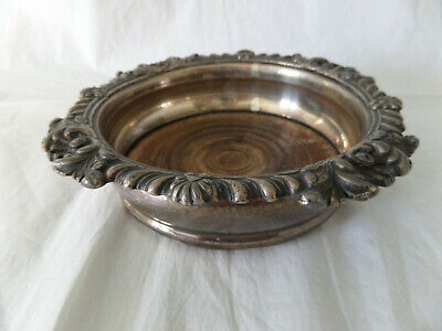 Antique Large Silver Plate On Copper & Wood Champagne Wine Coaster
