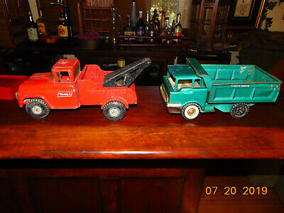 Buddy L  Tow Truck & Structo dumpster 1950's Pressed Steel