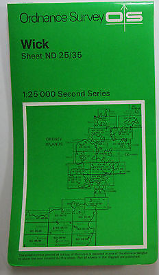 1978 old OS Ordnance Survey Second Series 1:25000 Pathfinder Map ND 25/35 Wick