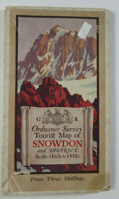 1925 OS Ordnance Survey One-Inch Tourist Map Snowdonia with Ellis Martin Cover