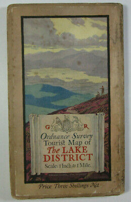 1930 OS Ordnance Survey One-Inch Tourist Map Lake District Ellis Martin Cover
