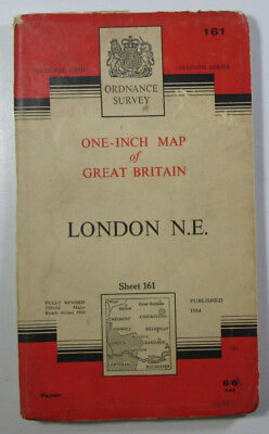 Old Vintage 1964 OS Ordnance Survey Seventh Series One-Inch Map 161 London N E