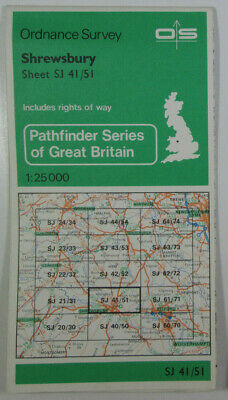 1978 Old Vintage OS Ordnance Survey Pathfinder 1:25000 Map SJ 41/51 Shrewsbury