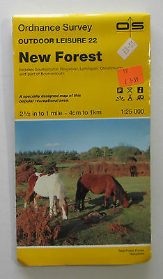1985 Old vintage OS Ordnance Survey 1:25000 Outdoor Leisure Map 22 New Forest