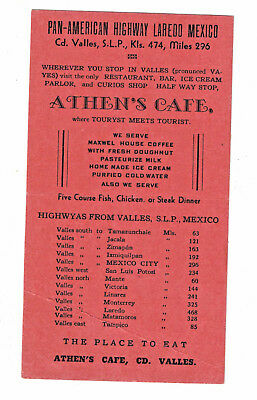 1959 Brochure Athens Cafe CD Valles Pan American Highway Laredo Mexico Tourists