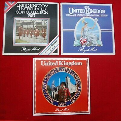 UK 1983. 1984. 1985 ROYAL MINT BRILLIANT UNCIRCULATED COIN Collections (3 sets)