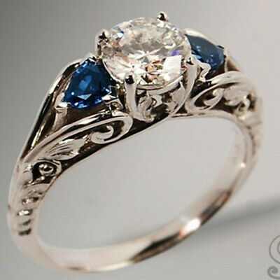 Antique 925 Silver White Topaz Ring Women Sapphire Wedding Jewelry Size 6-10