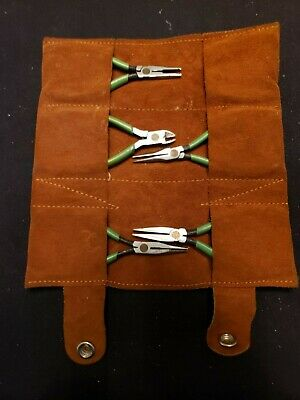 """Set 5 VTG """"DIAMOND USA"""" Watchmaker / Jeweler Pliers in Suede Case ~ Mixed Sizes"""