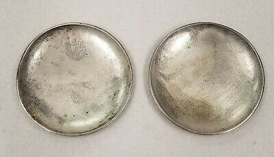 Pair of Chinese Export 900 Silver Small Round Dishes, marked Sing Fat Ca. 1900