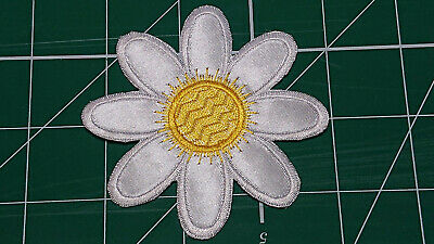 White/Yellow Flower (Iron On) Embroidery Applique Patch-Badge (Diameter - 84mm)