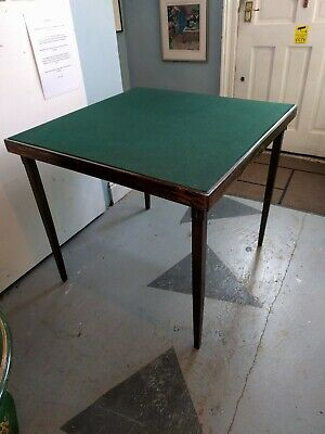 VINTAGE FOLDING CARD / BRIDGE GAMES TABLE with GREEN BEIZE TOP