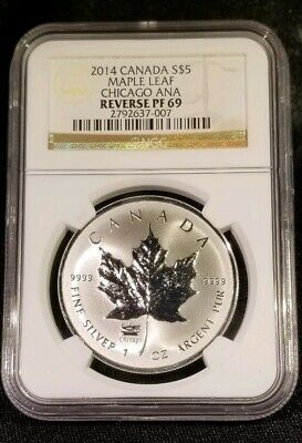 2014 Canada Silver Maple Leaf Chicago Ana Privy S$5 1 Oz Silver Coin - Ngc Pf-69
