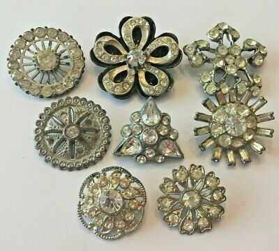 "Lot of 8 Antique Vintage Rhinestone Paste Buttons   7/8"" - 1 & 3/8"""