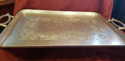 Vintage Aluminum Metal Serving Tray with Handles Hand Forged Hammered Platter