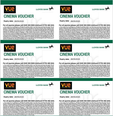 Great value 6 VUE cinema tickets with long expiry date (28/5/2020)