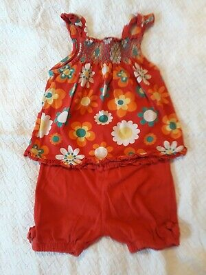 M&S Baby Girl's Summer Outfit 12-18 months Top Shorts Red Floral Marks Spencer