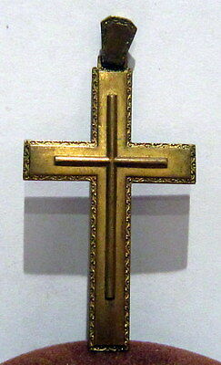 OUTSTANDING VINTAGE BRASS CROSS,ENGRAVING,EARLY 20th. Century !!! # 985