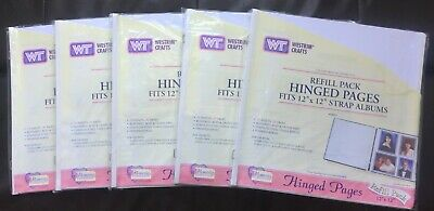 NEW LOT OF 5 Westrim Crafts 12X12 Hinged Scrapbook Pages White Creative Memories