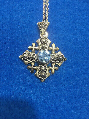 Unusual Vintage German 950 Silver Necklace And Cross With Rhinestone Pendant