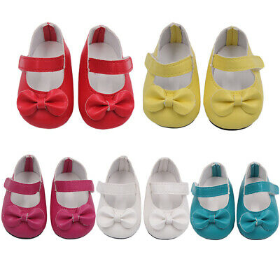 Handmade Red Flats Shoes w//Bow For 18 inch General Clothes NICE P A6X7 Doll J0G4