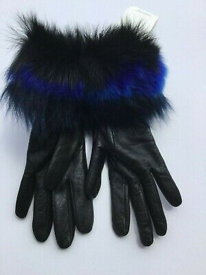 UGG Women's Small S Tech Touch Cuff Gloves Black Fur Leather Fur Trim Dress