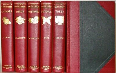 LEATHER Set; NATURE LIBRARY!! ANIMALS BIRDS BUTTERFLIES Encyclopedia ANTIQUARIAN