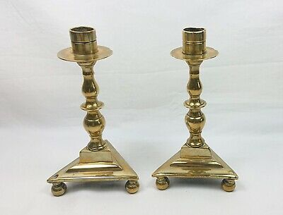 Pair Of Small Antique 17Th/ 18Th Century Brass Candlesticks Poss Dutch Or French