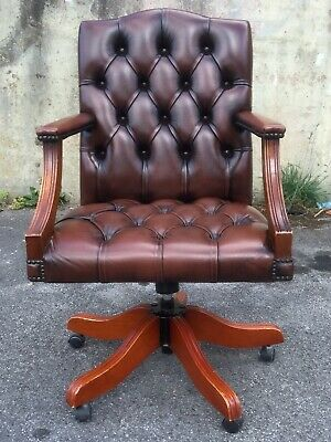 Chesterfield Gainsborough Swivel Tilt Office Desk Captains Chair Brown Leather !
