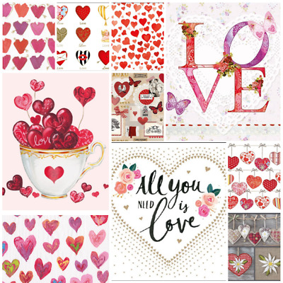 Love Collection  - Pack of 20 Mixed Paper Napkins for Decoupage, napkin art